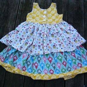 Jelly The Pug Dresses - JELLY THE PUG 6X Dress Tiered Twirl MULTI-PRINT